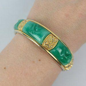 Vintage Gold Tone Green Glass Hinge Bracelet